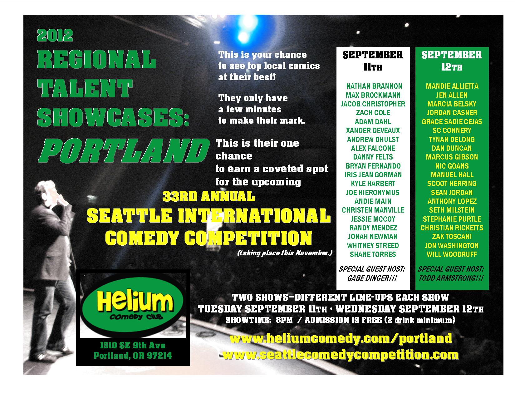 Poster for 2012 Regional Talent Showcases in Portland